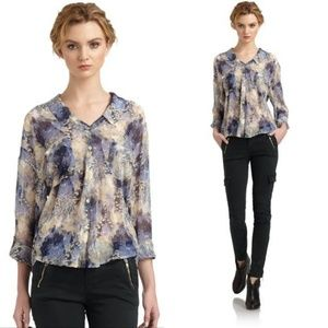 Free People Blue Easy Rider Abstract Sheer Blouse